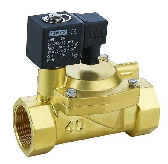 Brass Solenoid Valve Two-Way Normally Closed Water Solenoid Valve for Air Water Steam DC24V