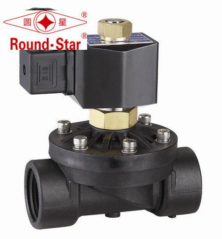 Black directional water air plastic solenoid valve for Plastic water valve types
